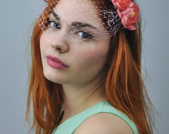 Lucy - Pink Flower Crown Headpiece in with Birdcage Net Veil | Bridal Flower Crown | Floral Headband | Bridesmaid Headband