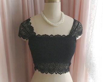SALE - Boho Goth Black Lace Crop Cap Sleeves Tank Top Cami Sheer Back , Elegance Sexy Victorian Style padded Bralette Bra Lingerie