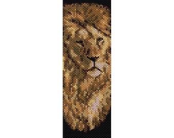 Lion Peyote Bead Pattern, Bracelet Pattern, Bookmark Pattern, Seed Beading Pattern Miyuki Delica Size 11 Beads - PDF Instant Download