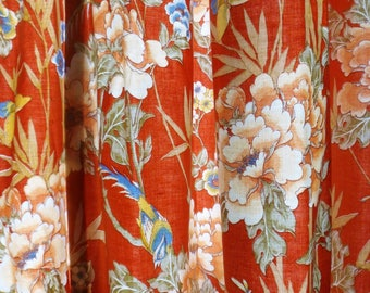 Custom Made Asian Style Drapes, Lined Muted Orange 70s Pleated Top Window Curtains with Birds and Flowers, 82 x 50