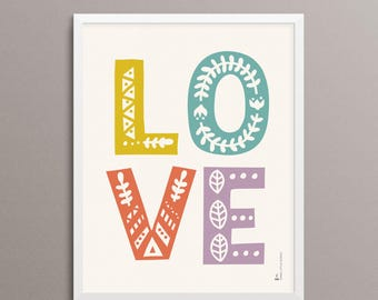 "LOVE Folk Art Print - 8x10"" - Limited Edition"