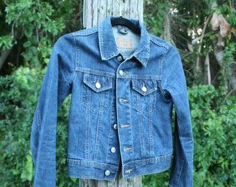 Vintage XS Denim Jacket // Dark Navy Blue // X-Small  // Rocky