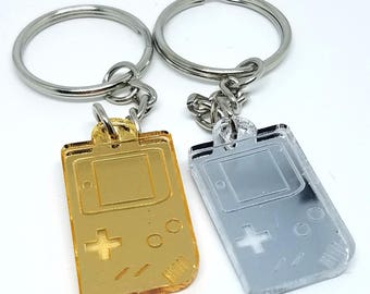 Gold and Silver Gameboy Keychain | Laser Cut Jewelry | Gamer Accessories | Gamer Keychain