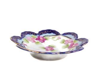 Vintage Flow Blue Bowl Asian Candy Dish Cobalt Blue Trinket Holder Fluted Edge Porcelain Made in Japan