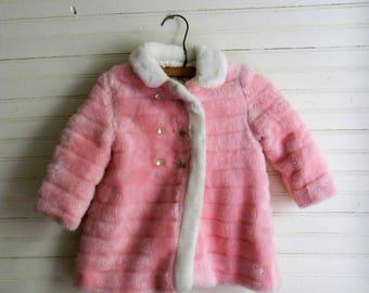 "Girls Vinatge Coat, Pink ""Fur"" Coat and Hat, 1960s Girls Coat Size 3 Pink Coat, Dress Coat, 1960s Kids Clothing, Girls Pink Coat Size 3"