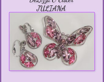 DeLizza and Elster D&E JULIANA Pink Lavender Open Back Navette Rhinestone Figural Butterfly Brooch Dangle Earrings PARURE SET