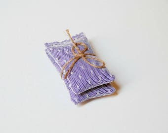 Lavender sachet set of 2 | fabric and lace lavender pillow | purple and cream | small gift for her under 10 | aromatherapy gifts | decor