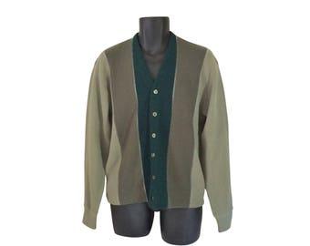 Mr Rogers Cardigan Mr Rogers Sweater 60s Men Sweater 1960s Men Cardigan Men Green Sweater Grandpa Cardigan Dark Green Sweater Olive Green