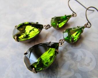 Gothic Earrings Gold Art Deco Vintage Olive Green Wedding Bridal Jewelry Art Nouveau Dangle Earrings- Envy