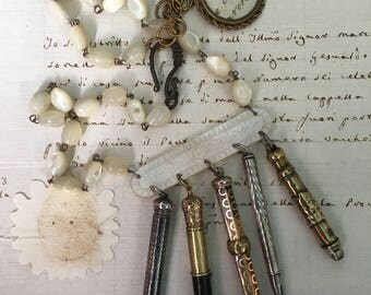 RESERVED for R.  The Writer Necklace. Antique mechanical pencils, mother of pearl rosary,  vintage assembled, antique reconstructed