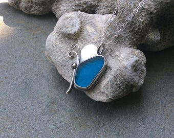 Sea glass jewelry,  Stunning rare turquoise blue sea glass butterfly necklace