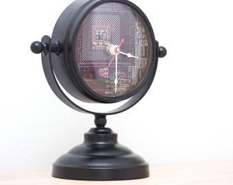 Unique Desk clock, recycled circuit board clock - purple circuit board clock- ready to ship c6974