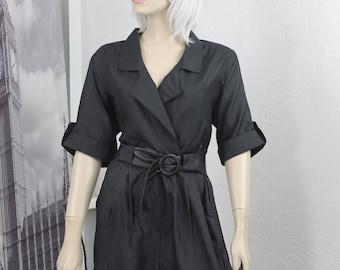 Vintage Black Jumpsuit 1980s Sandy Sandy Size M/L With Belt