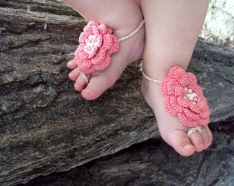 0mnths-7year, crochet baby Barefoot Sandals, girl Barefoot Sandals/ Baby Flower sandals, crochet flower, baby shower gift, beach photo props