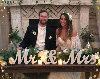 """8"""" Wooden Mr and Mrs Wedding sign, Gold and Silver Glitter, Wedding Decor, Wedding, Mr & Mrs"""