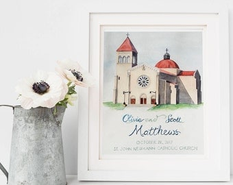 Wedding Gift: Church Watercolor, Where We Married Painting, Anniversary Gift, Engagement, Unique wedding gift, Personalized couples gift