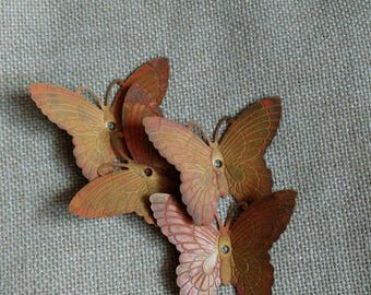 4 Patinated Brass Butterfly Findings, Applique, Assemblage, Tag