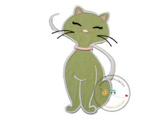Green kitty cat -Iron on embroidered fabric applique patch embellishment- ready to ship