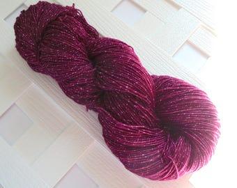 Sparkly Sock Yarn, BURGUNDY ROSE, Merino Yarn, Indie-Dyed Yarn, Rose Yarn, Tonal Yarn, Handdyed Yarn, Gift for Knitter, Superwash Merino