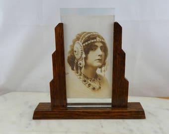 vintage art deco glass wood photo frame double sided glass picture frame two - Double Sided Glass Frame