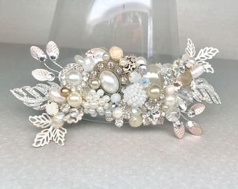 Champagne Bridal Comb- Bridal Hair Accessories- Vintage Inspired Hairpiece- Wedding Haircomb- Jeweled Bridal Hairpiece- Champagne Hair Comb