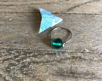 thin minimalist stackable teal glass ring