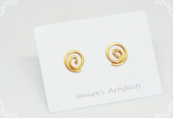 Gold posts gold plated wire stud earrings Minimalist jewelry Modern Simple elegant small post earrings gifts for women Christmas gift