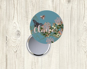 Personalised Compact Mirror Butterfly, Butterfly Beauty Mirror, Butterfly Pocket Mirror, Purse Mirror, Handbag Mirror, Hand Mirror,