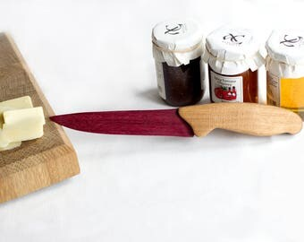 Cheese Knife - Purpleheart and Oak - Wooden Knife - Cake Knife - Cheeseboard Knife - Unique Knife - Knives - Timber Knife - Purple