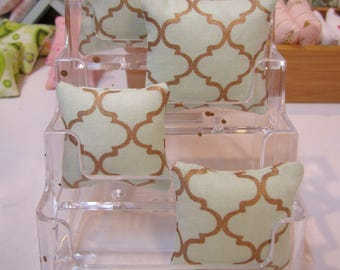 Miniature Pillows for use in 1:12th or 1/6th scale in modern Mint green with a Rose Gold Quatrefoil Lattice pattern