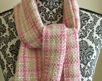 Hand Woven Scarf in Pink, Tank & White