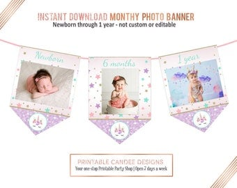 Unicorn Monthly Photo Banner, First Birthday Banner, Unicorn 1st Birthday, Unicorn Party Decor, 13 Monthly Flags, Instant download