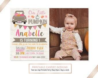 Girl Pumpkin Birthday Invitation, Burlap Pumpkin Party, Rustic Pumpkin Invite, Our Little Pumpkin, Fall Birthday, Pink Pumpkin Invitation