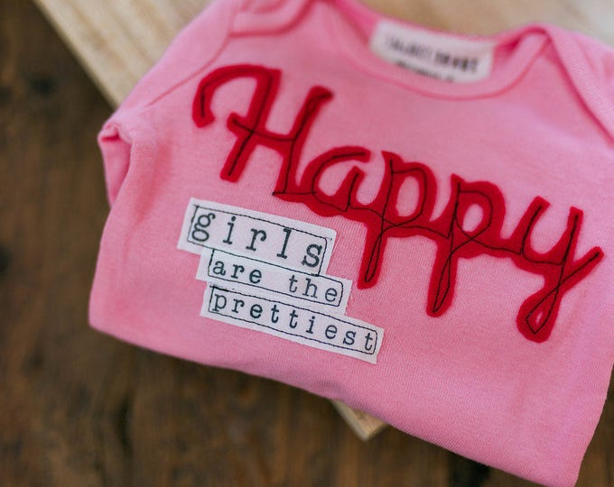 """Swanky Shank """"Happy Girls are The Prettiest"""" Hand-Dyed shirt or bodysuit"""