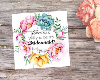 Be My Bridesmaid Personalised Puzzle Will You be my Flower girl Proposal Gift Asking Bridesmaid Will You be my Maid of Honor Invitation