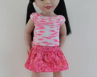 """Pink White Knitted Top Pink Batik Skirt - Dolls clothes to fit 20"""" Australian Girl dolls & 18"""" American Girl doll and friends"""
