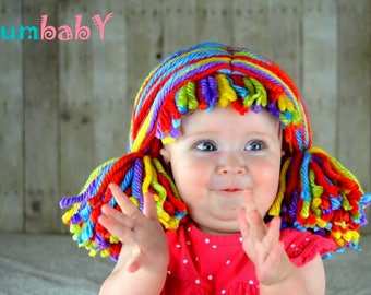 Clown Pigtail Wig - Red Purple Blue Green Yellow Orange