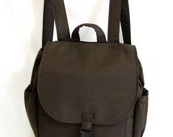 Small backpack- Dark chocolate brown cotton