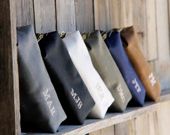 Shaving Bag 9x2x2---20% DISCOUNT for Orders of 4+ Groomsmen Gift Leather Toiletry Bag with Monogram Groomsmens Gifts Groomsmen Shaving Groom