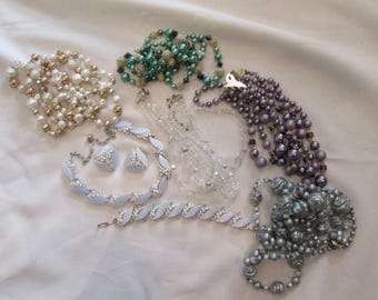 Bag Lot of Vintage Jewelry, Necklaces, Necklace Bracelet and Earring Set, Aurora Borealis Type Necklace, Up Cycle Jewelry, Recycle Jewelry