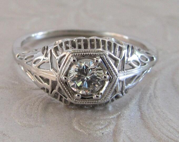 White Gold Diamond Filigree Ring, Antique Diamond Ring, Antique Filigree Ring, Antique Diamond Filigree Ring, Antique Engagement Ring