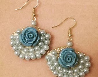Blue Rose Beaded Fan Earrings