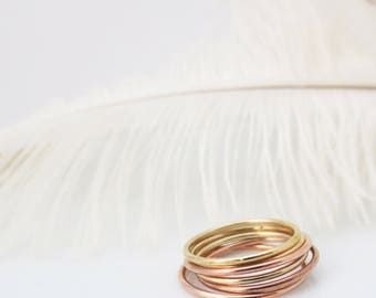 Gold Stacking Rings, Dainty and Delicate, Midi Rings, Hammered, Bridesmaid Gifts, Gifts for Her, Stacked, 14kt Gold Filled Accessories,