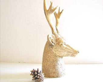 GOLD Faux Stag Deer Head Bust animal statue in gold for tabletop home decor /nursery decor gift / office decor gold deer head