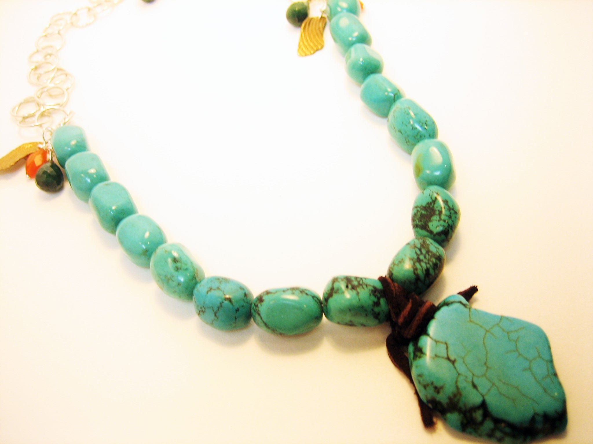 Turquoise nugget necklace, large turquoise pendant necklace, turquoise necklace with charms, leather wrapped turquoise necklace, rustic