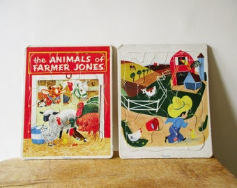 2 vintage cardboard puzzles PLAYSKOOL 1960, Farm, Animal, Toy Children, Antique, Puzzle en CARTON La ferme