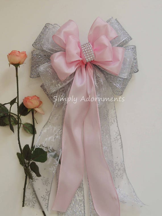 Pink Silver First Birthday Wedding Pew Bows winter Wonderland Pink Silver Bridal Shower Party decor Pink Silver Baby Shower Party Decor
