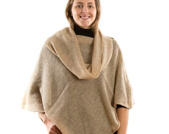 Alpaca Knitted Womans  Cape Nude . Beige Knit light poncho. Matching Scarf .Poncho Sweater. Mothers Day present for grandmother wife Mother
