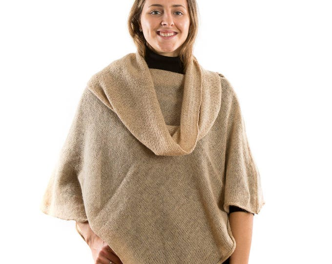 Featured listing image: Alpaca Knitted Womans  Cape Nude . Beige Knit light poncho. Matching Scarf .Poncho Sweater. Mothers Day present for grandmother wife Mother