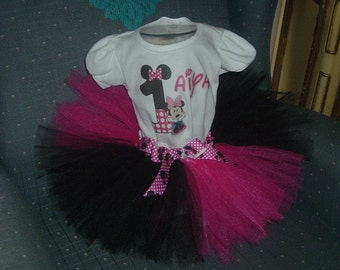 Pink, White and Black, Minnie Mouse , Shirt and tutu Skirt Birthday Outfit